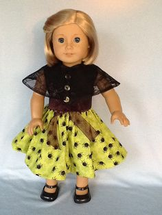 18 inch doll Halloween dress and Spider cape.  Fits by ASewSewShop