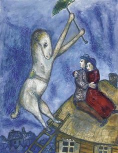 (Belarus) The umbrella horse and the lovers on the roof by Marc Chagall made of gouache, pastel, oil, wax crayon and watercolor on paper. Marc Chagall, Pablo Neruda, Folklore Russe, Pablo Picasso, Chagall Paintings, Gouache, Georges Braque, Unicorn Art, Collage