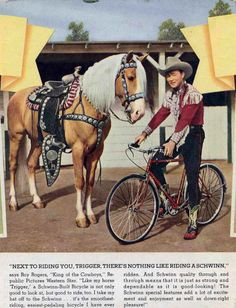 Roy Rogers and Trigger. Roy choosing his schwinn over his horse. probably in apple Valley. he was a great bowler too. Celebrities Famous People Riding Horses. Learn about #HorseHealth #HorseColicwww.loveyour.horse