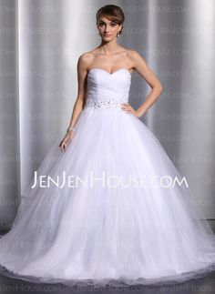Wedding Dresses - $162.99 - A-Line/Princess Sweetheart Court Train Satin Tulle Wedding Dresses With Ruffle Beadwork (002014800) http://jenjenhouse.com/A-line-Princess-Sweetheart-Court-Train-Satin-Tulle-Wedding-Dresses-With-Ruffle-Beadwork-002014800-g14800