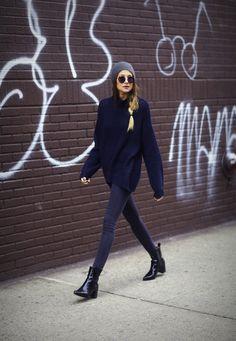 beanie, round shades, big slouchy sweater, black skinnies