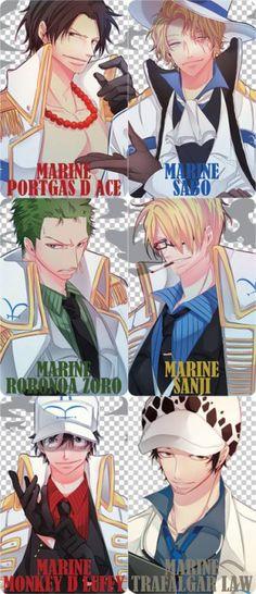 If pirates were Marines - Trafalgar D. Water Law, Monkey D. Luffy, Sanji, Roronoa Zoro, Portgas D. Ace, and Sabo One piece