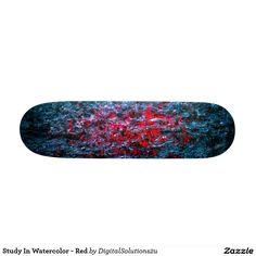 Study In Watercolor - Red Skateboard Deck