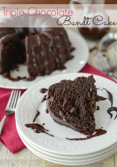 Easy Triple Chocolate Bundt Cake | crazyforcrust.com | #chocolate #cake #ganache This is the best, most rich and decadent chocolate cake I've ever had!