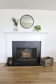 how to paint a ceramic tile fireplace, an easy DIY home project for a dramatic makeover and last results with heat resistant enamel paint Paint Fireplace Tile, Painted Fireplace Mantels, Tile Around Fireplace, Fireplace Tile Surround, Fireplace Surrounds, Fireplace Design, Fireplace Update, Brick Fireplace Makeover, Home Fireplace