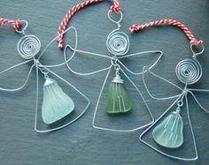 Weihnachten Sea Glass Engel Dekoration-Handmade Draht und echten schottischen Meer Glas Baumschmuck