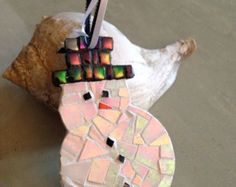 Holiday Snowman Ornament - Pearlescent Mosaic Ornament -Tree Ornament -Festive Decor - Hanging Ornament