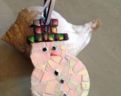 Holiday Snowman Ornament - Pearlescent Mosaic Ornament -Tree Ornament -Festive Decor - Hanging Ornament