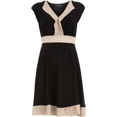 Black colour block dress ($44) ❤ liked on Polyvore featuring dresses, black, vestidos, colorblock dress, color block dress, dorothy perkins dress, tie waist dress and colorblocked dress