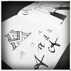 A, kleine letters, handlettering