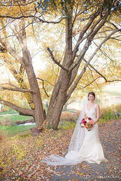 Fall bridal portrait; Outdoor bridal portrait; Fall leaves bridal portrait {Photo Credit: Mike Topham Photography}