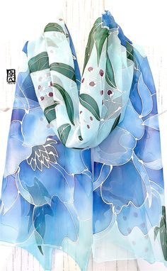 Hand Painted Silk Scarf, ETSY, Chiffon Scarf Silk, Silk Scarf Blue, Blue Kimono Peonies Scarf, Silk Scarves Takuyo, 14x72 inches,