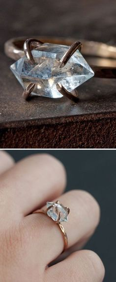 Herkimer Diamond Ring ❤︎ ❤❤♥For More You Can Follow On Insta @love_ushi OR Pinterest @ANAM SIDDIQUI ♥❤❤