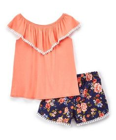 Colette Lilly Coral Pompom-Trim Ruffle Top & Navy Floral Shorts - Girls | zulily