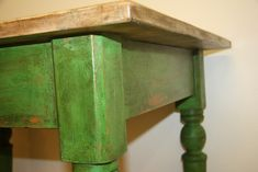 Old wooden country table - Annie Sloan chalk paint Antibes Green