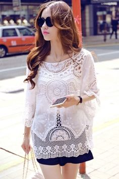 Half Sleeves Round-neck White Crochet Lace Hollow-out Beachwear