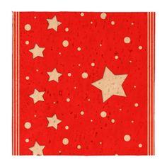 Posavasos de Corcho - Estrellas sobre fondo rojo