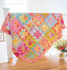 Give your home a burst of color and sunshine  — even on a cloudy day! This Craftsy-exclusive Rowan Sunshine Stars Quilt Kit features a variable star pattern and enough Kaffe Fassett Classics fabric...