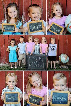 En wie zitten er op deze school? Maak foto's van de kinderen met hun naam op het bordje geschreven. Leuk om jaarlijks te herhalen!