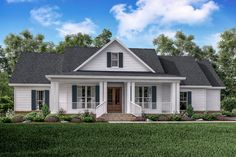This classic country farmhouse plan has large covered porches on the front and rear of the home. The three bedroom and two and a half bath house plan has a private master suite with his and her vaniti