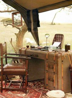 Safari trekking and glamping at its finest. Campaign stye leather desk, folding leather campaign chair, vintage persian rug and mosquito net tent. Glamping, Tent Camping, Camping Trailers, Camping Chairs, Campsite, Camping Gear, British Colonial Decor, Vintage Safari, Campaign Furniture