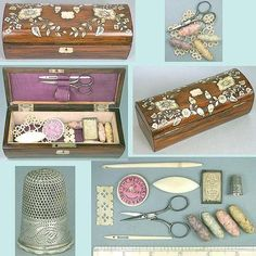 Antique Rosewood & Mother of Pearl Child's Sewing Box w/Thimble, Threads & Tools; Circa 1870