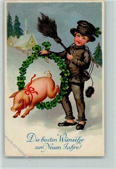 Neujahr - Schornsteinfeger mit einem Schwein , Verlag Rökl: Ansichtskarten-Center Onlineshop