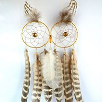 Owl dream catcher sure to bring character to your home. hand made by Selkie Crafts using feathers from the family hen flock or found while roaming the Scottish hills.