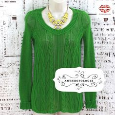 """ANTHRO GREEN LIGHT SWEATER Juicy green lime sweater from Sparrow Anthropologie . Beautifully cable knitted. Very lightweight and stretchy. Looks good with tank top but can be worn with a bralette. It's just enough """"see through"""" Label XS but fits S (selling as S then) Length: 25"""". Armpit to armpit: 16"""" plus approximately 8"""" stretch. Very good condition. 100% cotton Anthropologie Sweaters Crew & Scoop Necks"""