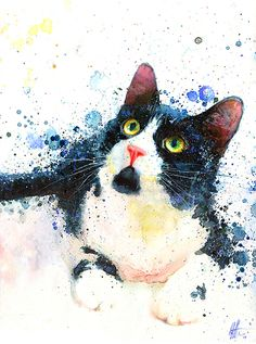 Tuxedo Cat.  Watercolor on paper.