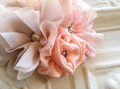 Pink Lace Champagne Chiffon Flower Fascinator by StunningByDesign, $35.00