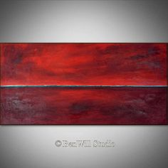 ORIGINAL Large RED Painting Abstract MODERN Wall Art Oil Painting - 48x24 - Palette Knife Art - Original Artwork by BenWill on Etsy, 270,80€