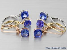 2.00ctw Cushion Cut Tanzanite 10k White Gold Earrings - Your Choice of Color