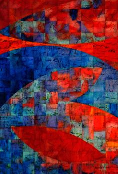 **Abstract Blue and Red Red Fish, Art For Art Sake, Yellow Background, Shades Of Red, Rainbow Colors, Fiber Art, Modern Art, Contemporary, Red And Blue