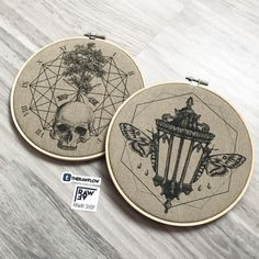 """Time waits for no one"""" and """"IV. Never alone"""" dotwork canvas prints framed in embroidery hoops By raw Shop: www.shop — Immediately post your art to a topic and get feedback. Join our new community, EatSleepDraw Studio, today! Modern Embroidery, Embroidery Hoop Art, Hand Embroidery Patterns, Vintage Embroidery, Cross Stitch Embroidery, Cross Stitch Patterns, Hungarian Embroidery, Embroidery Jewelry, Machine Embroidery"""