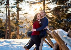 Mount Falcon Park Winter Engagement Session Sunset Photo in Mountains