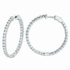Jewelry Point - Large 2 Carat Diamond Inside Out Hoop Earrings 14k White Gold, $2,550.00 (http://www.jewelrypoint.com/large-2-carat-diamond-inside-out-hoop-earrings-14k-white-gold/)