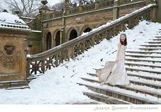 """as much as I hate """"Trash the Dress"""" photo sessions, this is a lovely pic in the snow at Bethesda Terrace, Central Park"""
