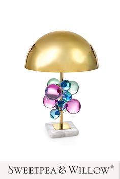 The glamorous Globo Table Lamp by Jonathan Adler features a constellation of multicoloured acrylic spheres that float on a slender brass stem anchored by a solid marble base and topped with a brass dome. #sweetpeaandwillow #modernartdeco #americanglamourdecor #contemporarytablelamp Copper Pendant Lights, Glass Pendant Light, Glass Crystal, Crystal Ball, Clear Glass, Rose Gold Lamp, Led Reading Light, Glamour Decor, Modern Art Deco