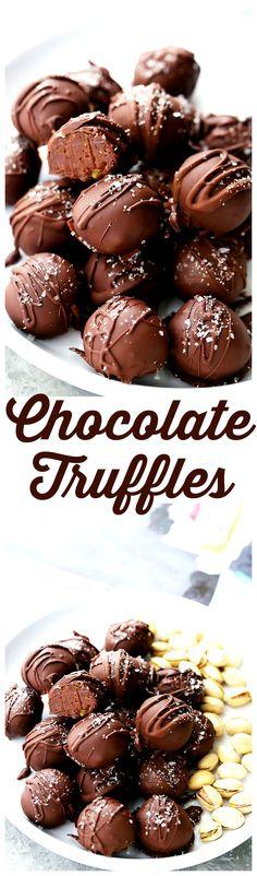 Salted Pistachio Dark Chocolate Truffles