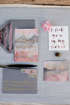Organically luxe, this handmade invitation suite mixes calligrapher Nikki Daskalakis' modern lettering with watercolor bleeds and stripes. Destination Wedding Invitations, Unique Wedding Invitations, Wedding Stationary, Invitation Suite, Invitation Design, Invitation Ideas, Wedding Paper, Wedding Cards, Wedding Questionnaire