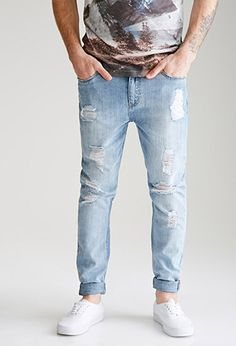 Faded Distressed Wash - Straight-Leg Jeans | 21 MEN | #f21men