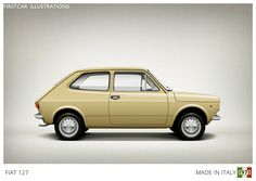 Firstcar Illustrations - FIAT 127 - 1971. The industrial designer Pio Manzu's masterpiece, one of the first true Superminis