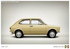 Firstcar Illustrations - FIAT 127 - 1971. The industrial designer Pio Manzu's masterpiece, one of the first true Superminis