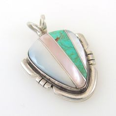 Navajo Handemade Sterling Silver Multi-Stone Inlay Pendant Signed EK    RS L