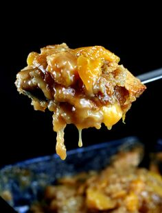 Caramel Peach Cobbler. The batter rises from the bottom to top during baking to form an amazing cobbler crust.