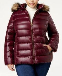 Michael Michael Kors Plus Size Packable Faux-Fur-Trim Down Coat - Purple 2X