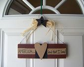 Primitive Americana Patriotic Wall/Door Sign in Red, White, and Blue