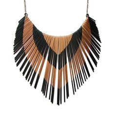 Copper Necklace  Metal Fringe  Porcupine Quill by jamiespinello, $80.00