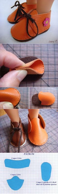 DIY leather doll shoes : DIY leather doll shoes ideas for kids for girls Sewing Dolls, Ag Dolls, Girl Dolls, Barbie Doll, Doll Shoe Patterns, Clothing Patterns, Doll Crafts, Diy Doll, Girl Doll Clothes